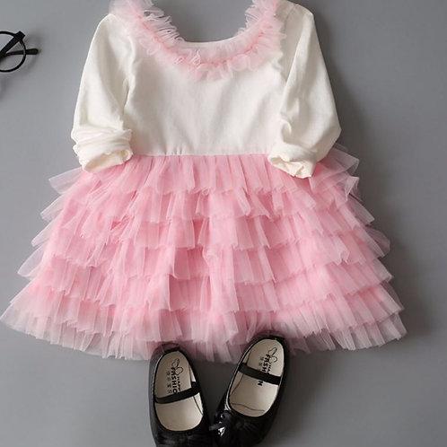 Bielo ružove dievčenské šaty SKLADOM