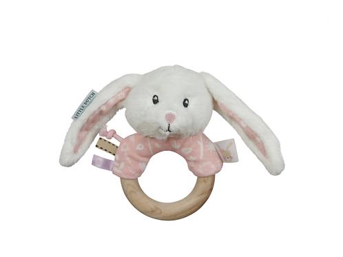 LITTLE DUTCH Hrkajúci Zajačik s Dreveným Krúžkom PINK
