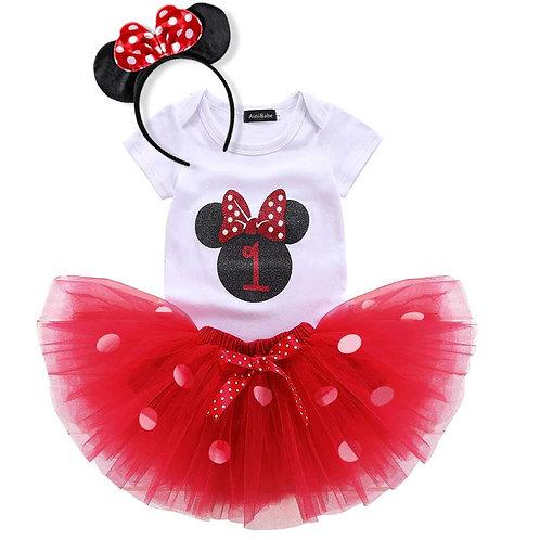 Červený Birthday SET Minnie Mouse EM