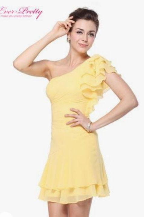 Žlté krátke šaty 3645 SKLADOM
