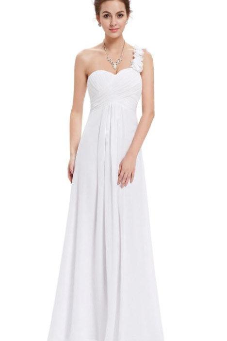 Biele šaty na jedno rameno 9768 SKLADOM