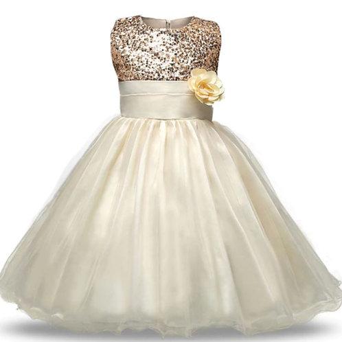 Zlate dievčesnké šaty s kvetom SKLADOM
