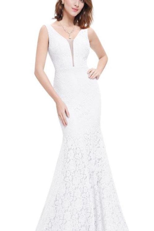 Biele svadobné-spoločenské šaty 8838