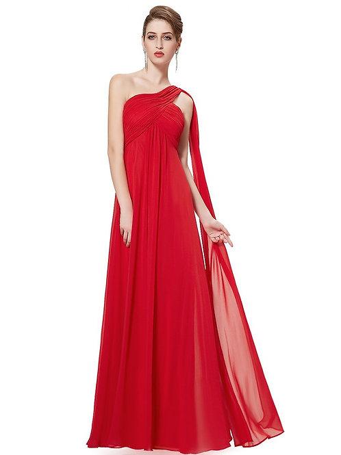 Červené šaty na jedno rameno 9816 SKLADOM