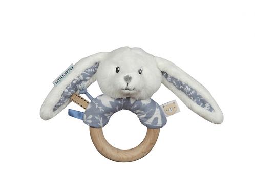 LITTLE DUTCH Hrkajúci Zajačik s Dreveným Krúžkom BLUE