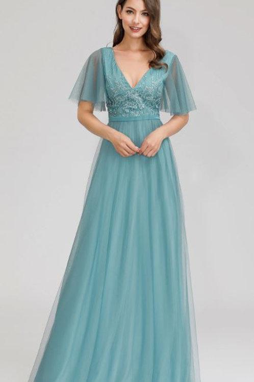 Spoločenské šaty DUSTY BLUE 0727