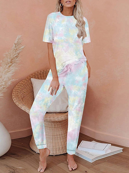 Tie Dyi Farebné Pyžamo
