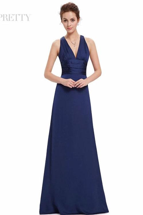 Modré saténové šaty 9008 SKLADOM