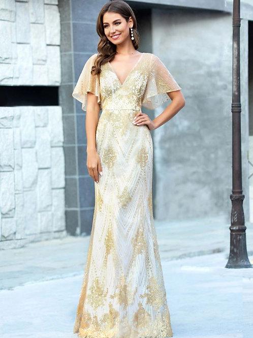 Zlaté svadobne- spoločenské šaty 0610