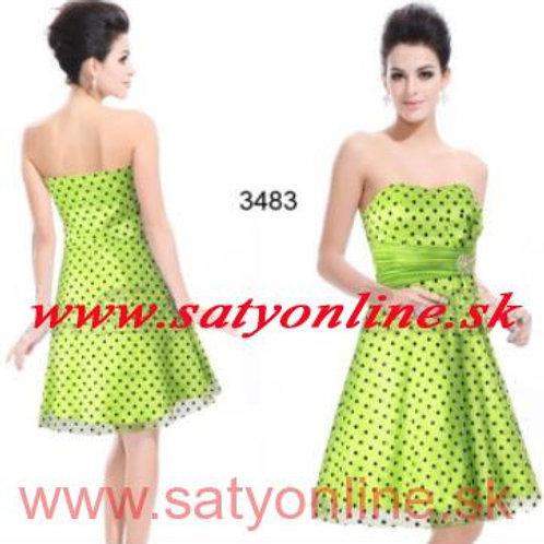 Zelené bodkované šaty 3483 SKLADOM