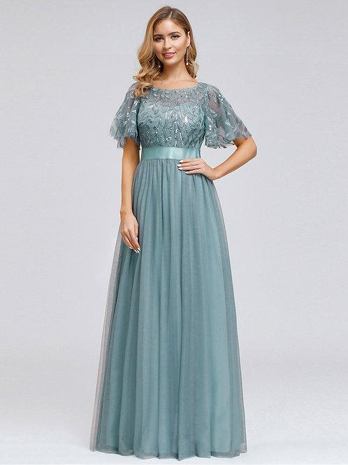Spoločenské šaty s rukávom DUSTY BLUE  0904 SKLADOM