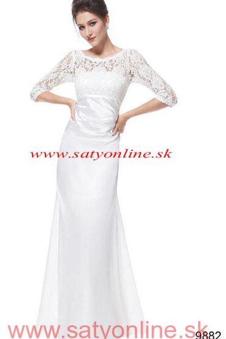 Biele svadobné- spoločenské  šaty 9882 SKLADOM