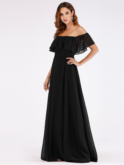 Čierne šaty s volánom 0968