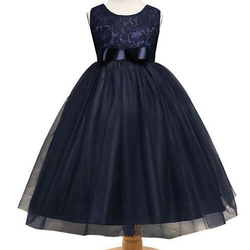 Tmavo modré dievčenské šaty SKLADOM
