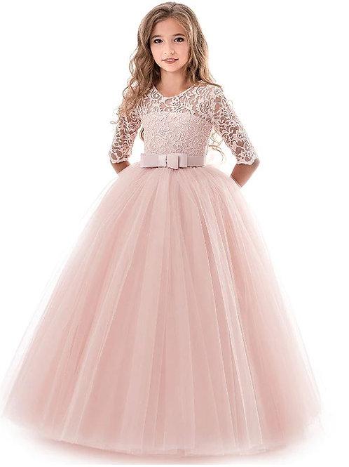 Marhuľkové krajkové dievčenské šaty s rukávom SKLADOM