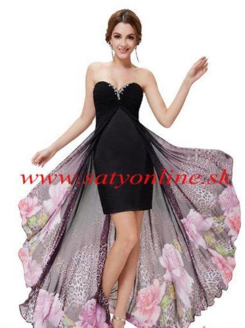 Čierne kvetované šaty 8030 SKLADOM