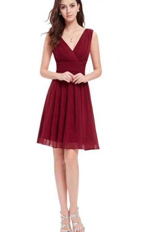 Bordove krátke šaty 3989 SKLADOM
