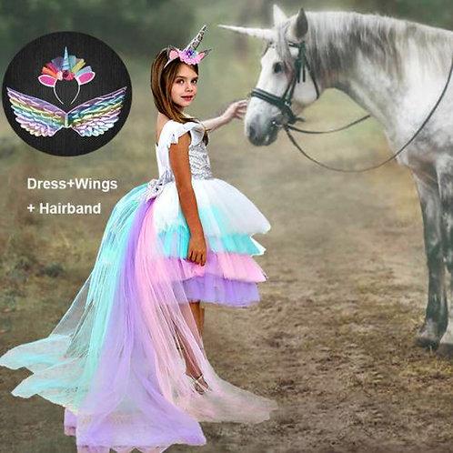UNICOR šaty s vlečkou/ závojom+čelenka+krídla