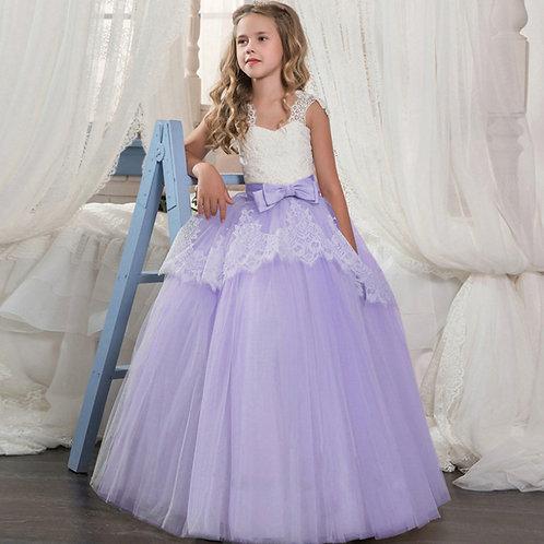Fialové krajkové dievčenské šaty s Mašľou SKLADOM
