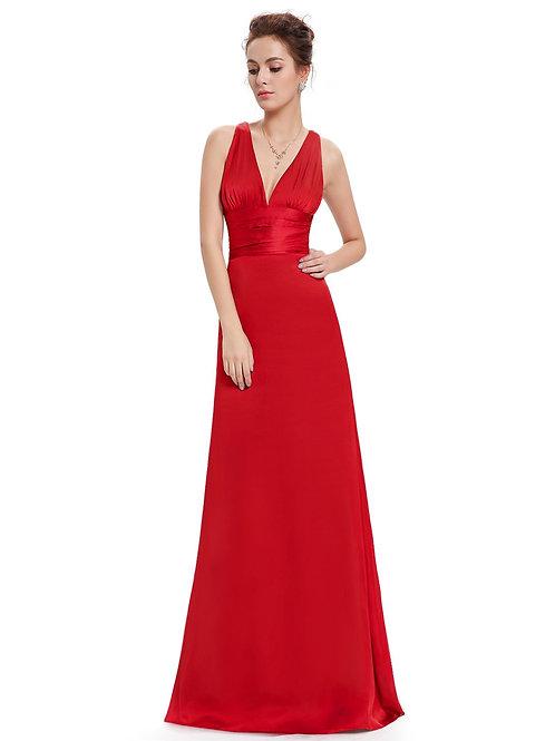 Červené saténové šaty 9008 SKLADOM