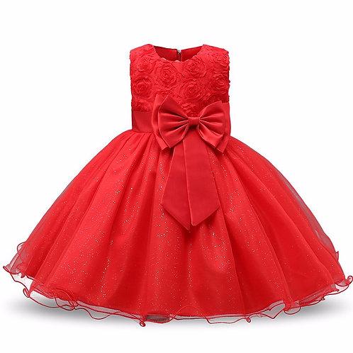 Červené dievčenské šaty FLOWER SKLADOM