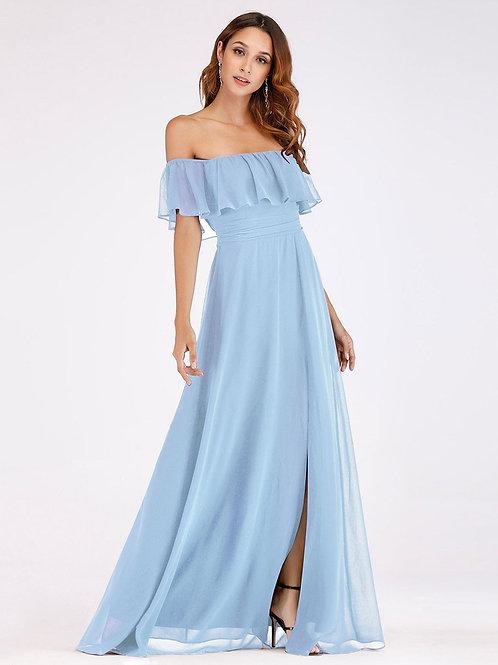 Modré spoločenské šaty 0968