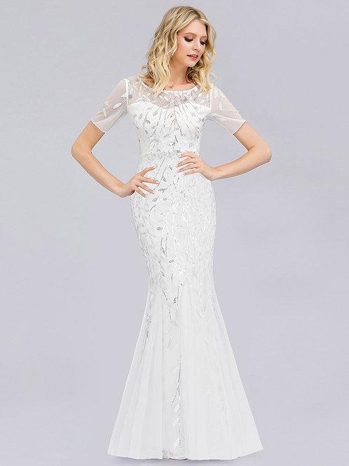 Biele svadobne-spoločenské šaty 7707
