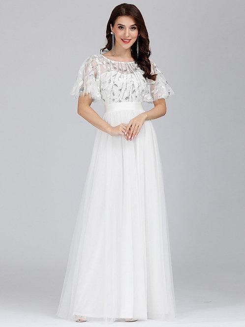Biele svadobné šaty s rukávom 0904