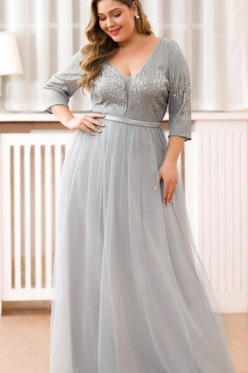 Sivé spoločenské šaty pre MOLETKY 0878