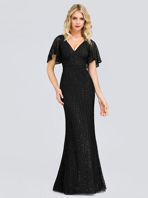 Čierne spoločenské šaty 0838 SKLADOM