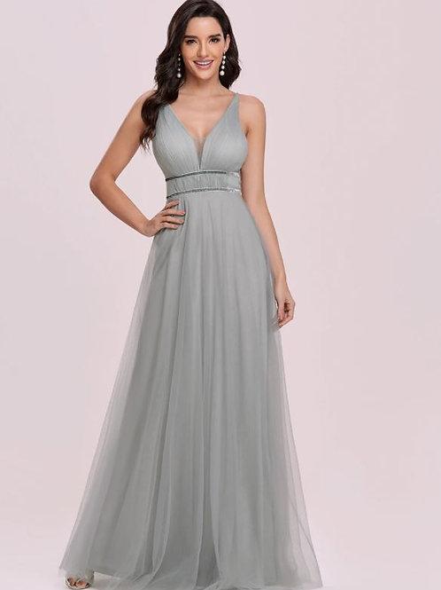 Sivé spoločenské šaty 0299