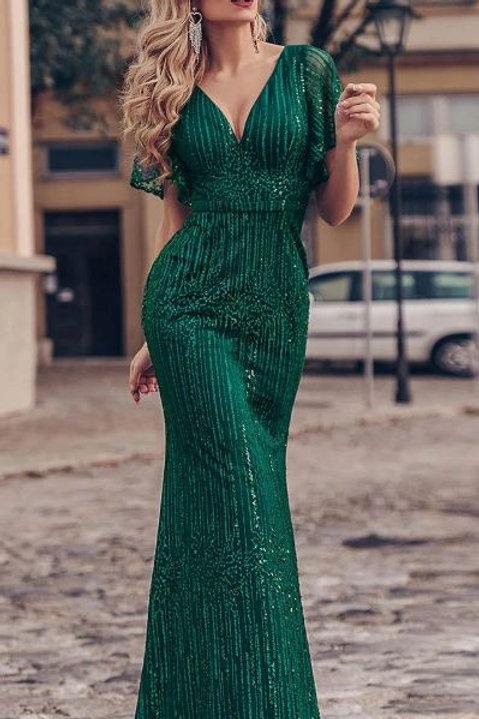 Zelene spoločenské šaty 0838