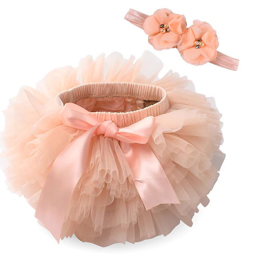 Peach BABY TUTU with head band