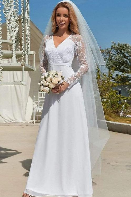 Biele krajkové svadobné šaty s rukávmi 8692