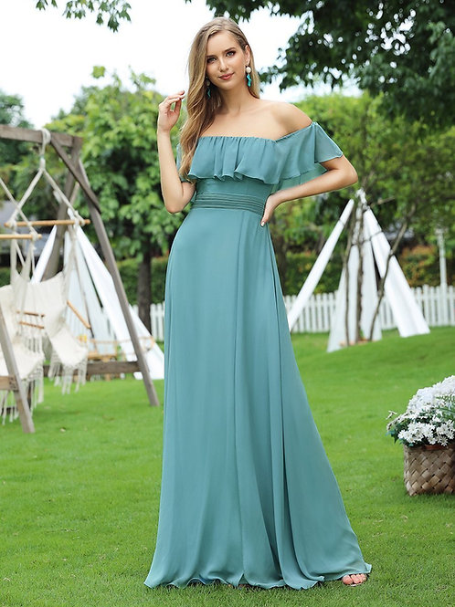 Spoločenské šaty s volánom DUSTY BLUE 0968