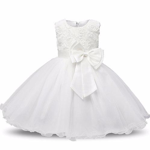 Biele dievčenské šaty FLOWER Skladom