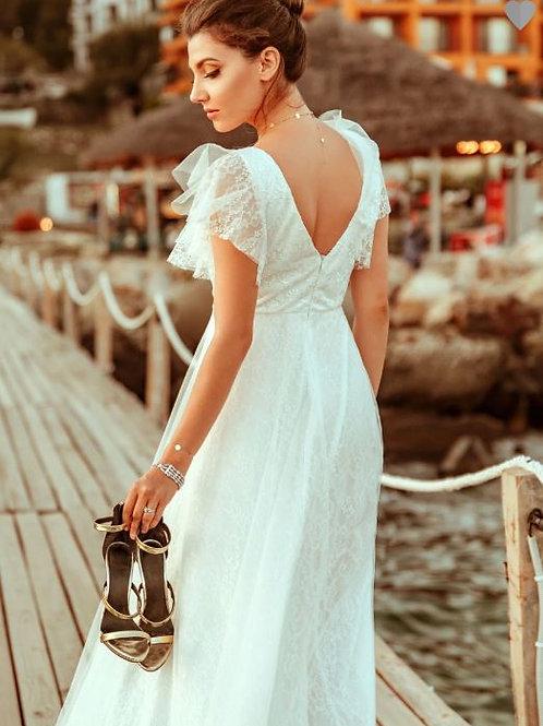 Biele svadobné krajkové šaty 0857
