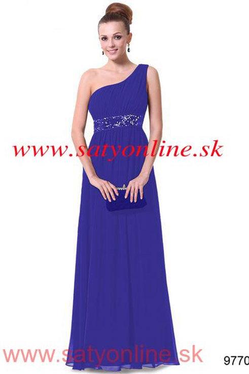 Modré šaty na jedno rameno9770 SKLADOM