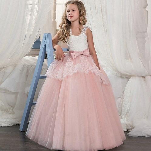 Marhuľkové krajkové dievčenské šaty s Mašľou SKLADOM