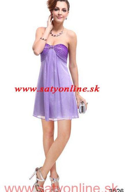 Fialové krátke šaty 3526 SKLADOM