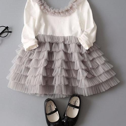Bielo sivé dievčenské šaty SKLADOM