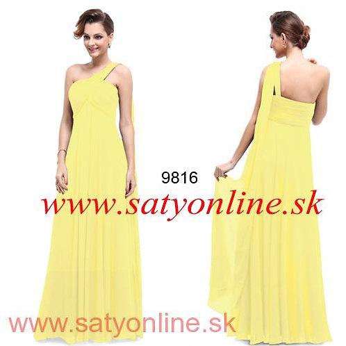 Žlté šaty na jedno rameno 9816 SKLADOM
