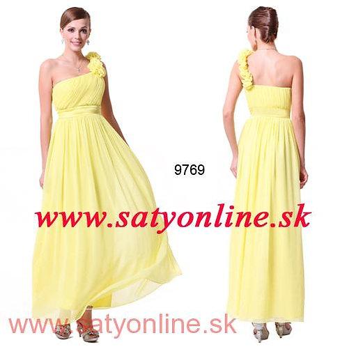 Žlté šaty na jedno rameno 9769 SKLADOM