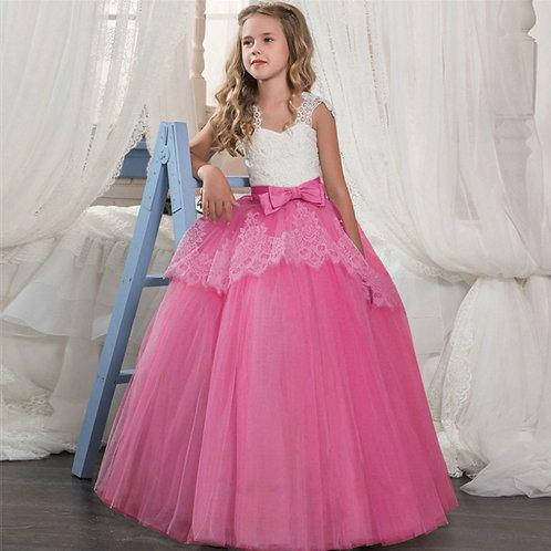 Cyklamenové krajkové dievčenské šaty s Mašľou