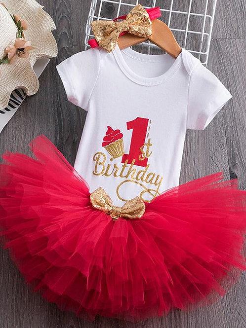 Červený Birthday SET Cupcake EM