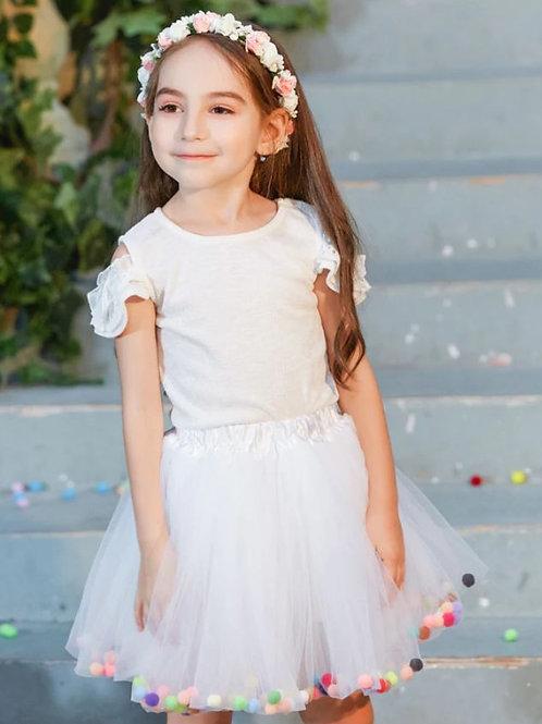 Biela TUTU suknička s GUĽKAMI Skladom
