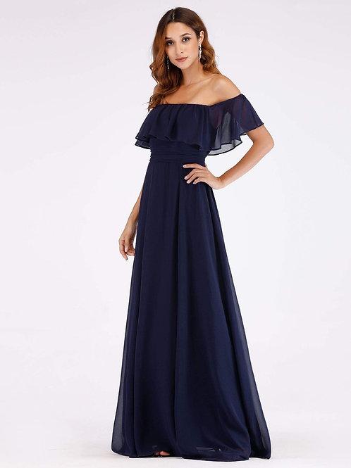 Tmavo modré šaty s volánom 0968