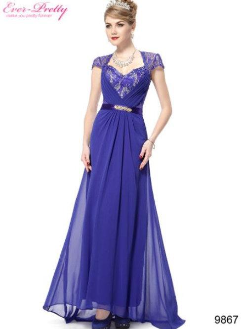 Modré krajkové šaty 9867 SKLADOM