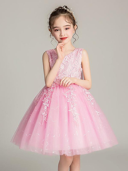 Ružové krajkové dievčenské šaty EP