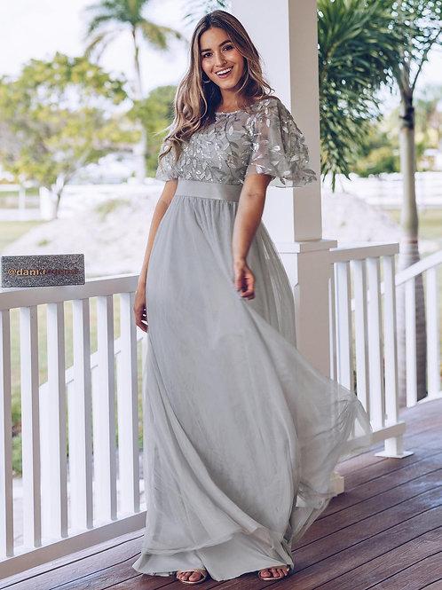 Sivé šaty s rukávom 0904
